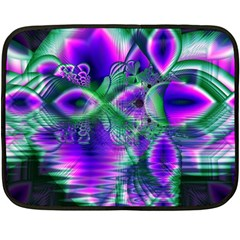 Evening Crystal Primrose, Abstract Night Flowers Mini Fleece Blanket (two Sided)