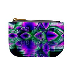 Evening Crystal Primrose, Abstract Night Flowers Coin Change Purse