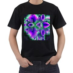 Evening Crystal Primrose, Abstract Night Flowers Men s T Shirt (black)
