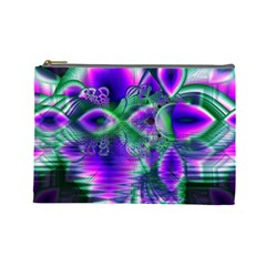 Evening Crystal Primrose, Abstract Night Flowers Cosmetic Bag (Large)