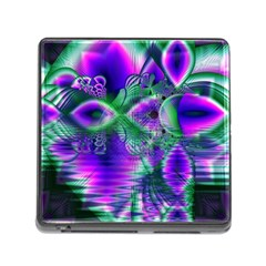 Evening Crystal Primrose, Abstract Night Flowers Memory Card Reader With Storage (square)