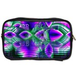 Evening Crystal Primrose, Abstract Night Flowers Travel Toiletry Bag (Two Sides) Front