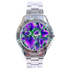 Evening Crystal Primrose, Abstract Night Flowers Stainless Steel Watch