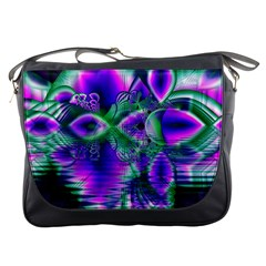 Evening Crystal Primrose, Abstract Night Flowers Messenger Bag