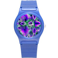 Evening Crystal Primrose, Abstract Night Flowers Plastic Sport Watch (Small)