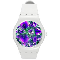 Evening Crystal Primrose, Abstract Night Flowers Plastic Sport Watch (Medium)