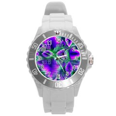 Evening Crystal Primrose, Abstract Night Flowers Plastic Sport Watch (Large)