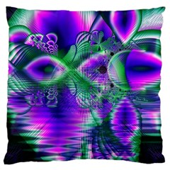 Evening Crystal Primrose, Abstract Night Flowers Large Cushion Case (Two Sided)