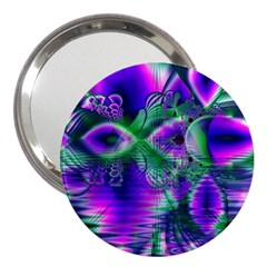 Evening Crystal Primrose, Abstract Night Flowers 3  Handbag Mirror