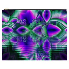 Evening Crystal Primrose, Abstract Night Flowers Cosmetic Bag (XXXL)