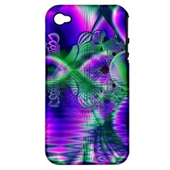 Evening Crystal Primrose, Abstract Night Flowers Apple Iphone 4/4s Hardshell Case (pc+silicone)