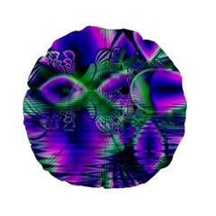 Evening Crystal Primrose, Abstract Night Flowers 15  Premium Round Cushion