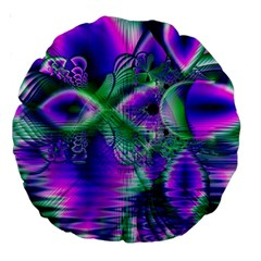 Evening Crystal Primrose, Abstract Night Flowers 18  Premium Round Cushion