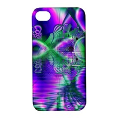 Evening Crystal Primrose, Abstract Night Flowers Apple iPhone 4/4S Hardshell Case with Stand
