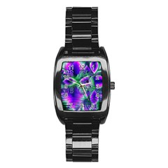 Evening Crystal Primrose, Abstract Night Flowers Stainless Steel Barrel Watch