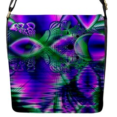 Evening Crystal Primrose, Abstract Night Flowers Flap Closure Messenger Bag (small)