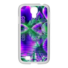 Evening Crystal Primrose, Abstract Night Flowers Samsung GALAXY S4 I9500/ I9505 Case (White)