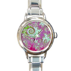 Raspberry Lime Surprise, Abstract Sea Garden  Round Italian Charm Watch