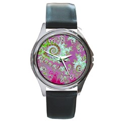 Raspberry Lime Surprise, Abstract Sea Garden  Round Leather Watch (Silver Rim)
