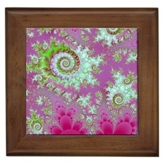 Raspberry Lime Surprise, Abstract Sea Garden  Framed Ceramic Tile