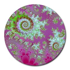 Raspberry Lime Surprise, Abstract Sea Garden  8  Mouse Pad (round)