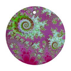 Raspberry Lime Surprise, Abstract Sea Garden  Round Ornament