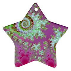 Raspberry Lime Surprise, Abstract Sea Garden  Star Ornament