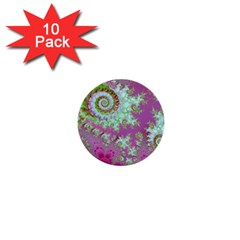 Raspberry Lime Surprise, Abstract Sea Garden  1  Mini Button (10 Pack)