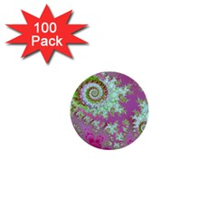 Raspberry Lime Surprise, Abstract Sea Garden  1  Mini Button (100 Pack)