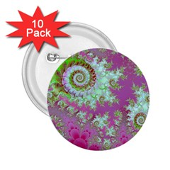 Raspberry Lime Surprise, Abstract Sea Garden  2.25  Button (10 pack)