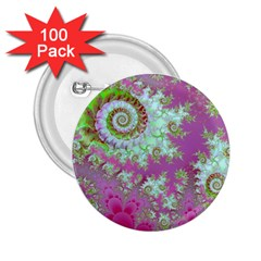 Raspberry Lime Surprise, Abstract Sea Garden  2 25  Button (100 Pack)