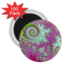 Raspberry Lime Surprise, Abstract Sea Garden  2.25  Button Magnet (100 pack)