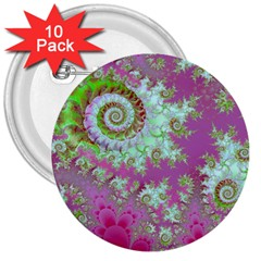 Raspberry Lime Surprise, Abstract Sea Garden  3  Button (10 Pack)