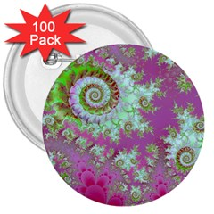 Raspberry Lime Surprise, Abstract Sea Garden  3  Button (100 pack)