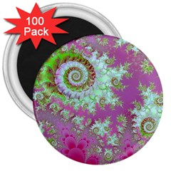 Raspberry Lime Surprise, Abstract Sea Garden  3  Button Magnet (100 Pack)
