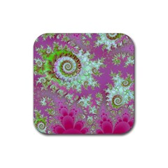 Raspberry Lime Surprise, Abstract Sea Garden  Drink Coaster (Square)