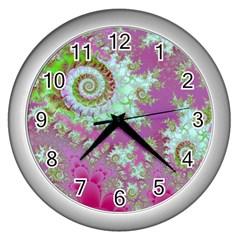Raspberry Lime Surprise, Abstract Sea Garden  Wall Clock (silver)