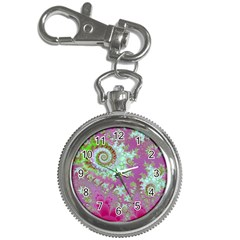 Raspberry Lime Surprise, Abstract Sea Garden  Key Chain Watch