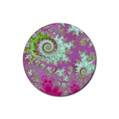 Raspberry Lime Surprise, Abstract Sea Garden  Drink Coasters 4 Pack (Round)