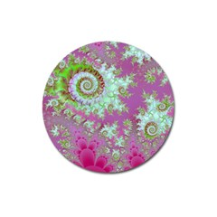 Raspberry Lime Surprise, Abstract Sea Garden  Magnet 3  (Round)