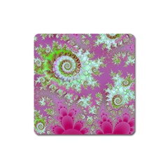 Raspberry Lime Surprise, Abstract Sea Garden  Magnet (Square)