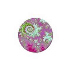 Raspberry Lime Surprise, Abstract Sea Garden  Golf Ball Marker