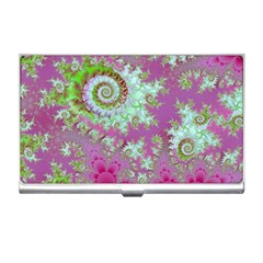 Raspberry Lime Surprise, Abstract Sea Garden  Business Card Holder