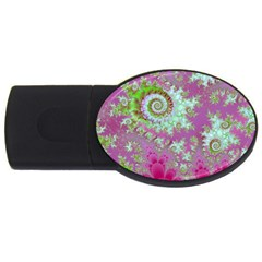 Raspberry Lime Surprise, Abstract Sea Garden  1GB USB Flash Drive (Oval)