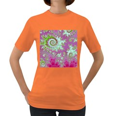 Raspberry Lime Surprise, Abstract Sea Garden  Women s T-shirt (Colored)