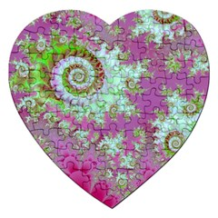 Raspberry Lime Surprise, Abstract Sea Garden  Jigsaw Puzzle (heart)