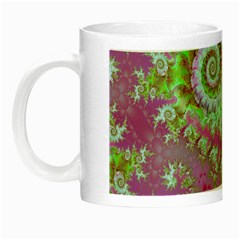 Raspberry Lime Surprise, Abstract Sea Garden  Glow In The Dark Mug