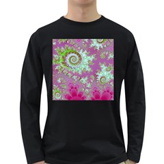 Raspberry Lime Surprise, Abstract Sea Garden  Men s Long Sleeve T-shirt (Dark Colored)