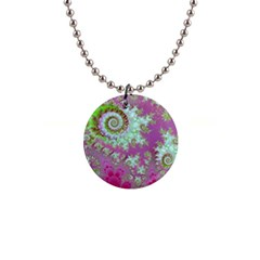 Raspberry Lime Surprise, Abstract Sea Garden  Button Necklace