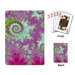 Raspberry Lime Surprise, Abstract Sea Garden  Playing Cards Single Design